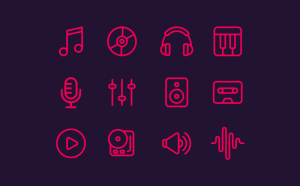 Free Line Music Icon