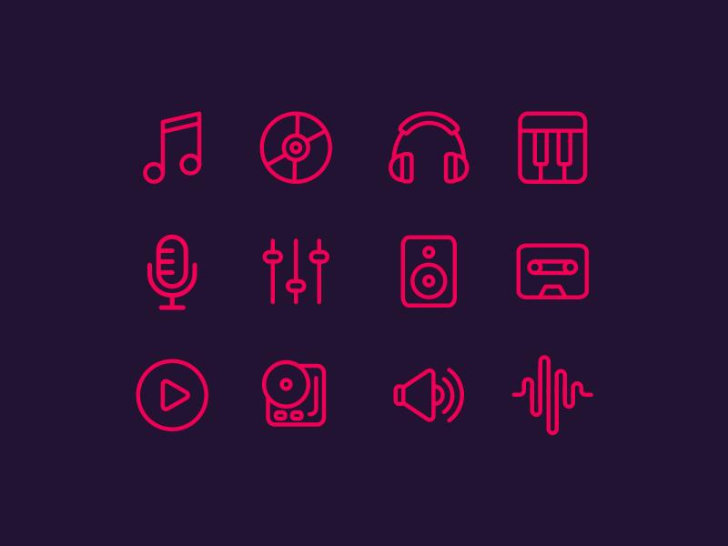 Free Line Music Icon