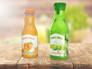 Free Fruit Juice Bottles Mockup