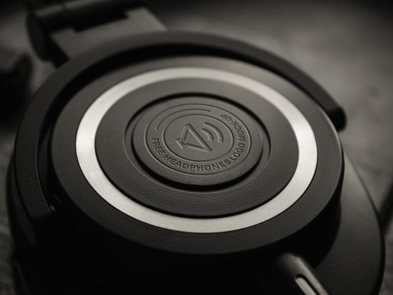 Headphones Logo Mockup PSD