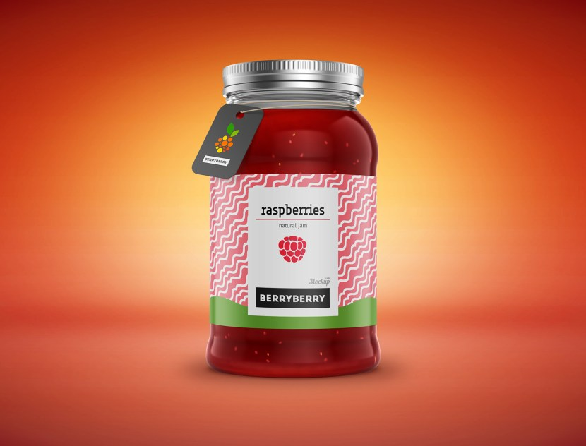 Jam Jar Bottle Mockup PSD
