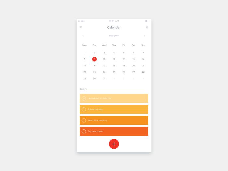 Simple Calendar App UI