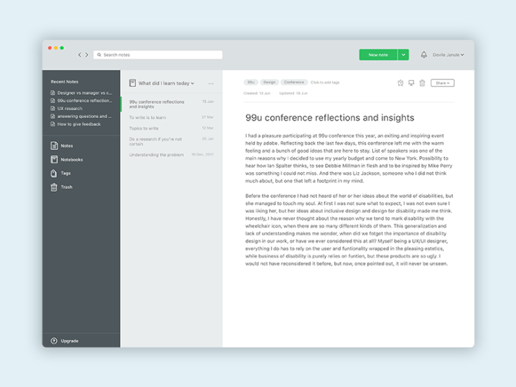 Evernote UI Design