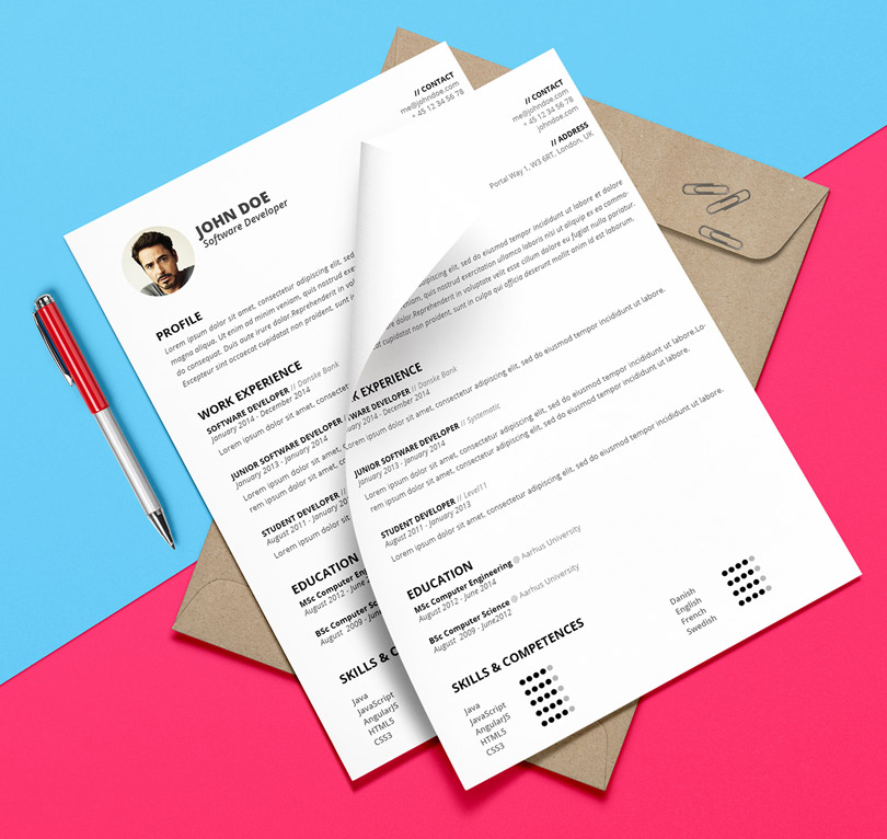 Free Attractive Resume Template (PSD and DOCX)