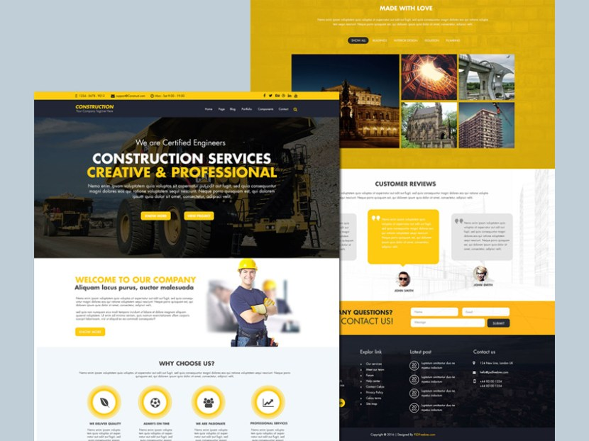 Construction Website Template (Free PSD)
