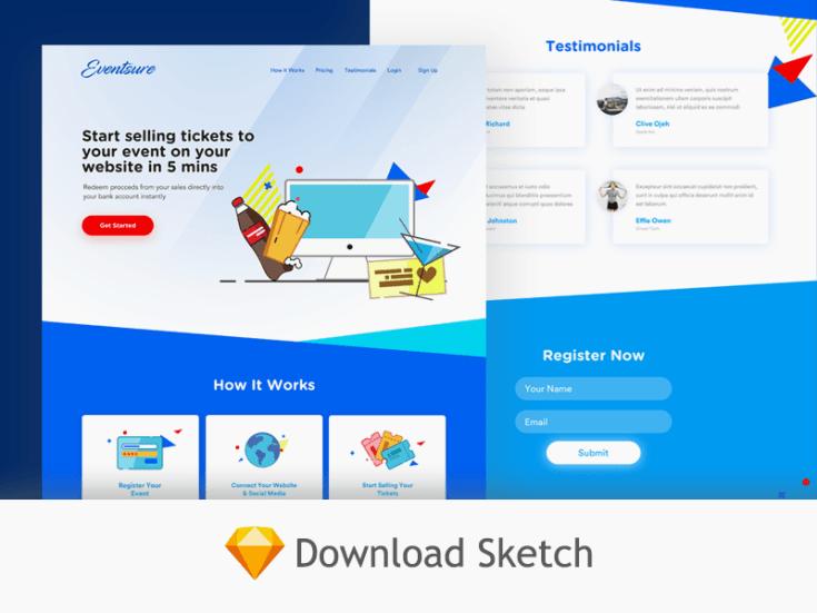 Free Event Website Template Sketch Free Download Freebiesjedi