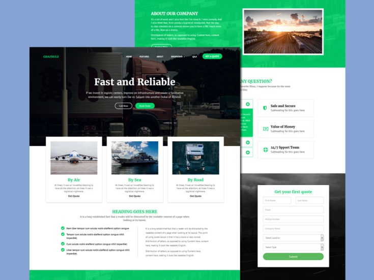 Free Logistic Website Template