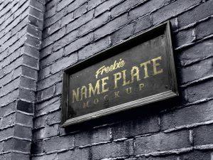 Free Name Plate Mockup PSD