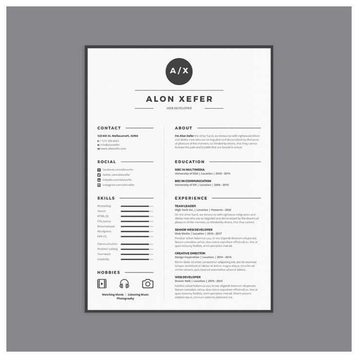 Free Resume Template in Multiple File Format