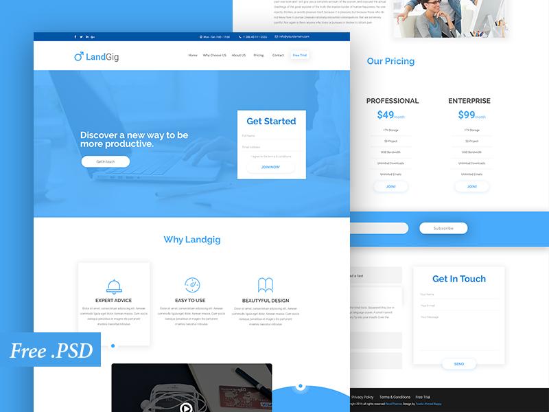 Landig : Free PSD Landing Page Template