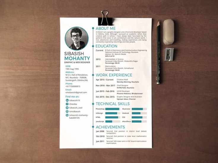 Simple PSD Resume Template
