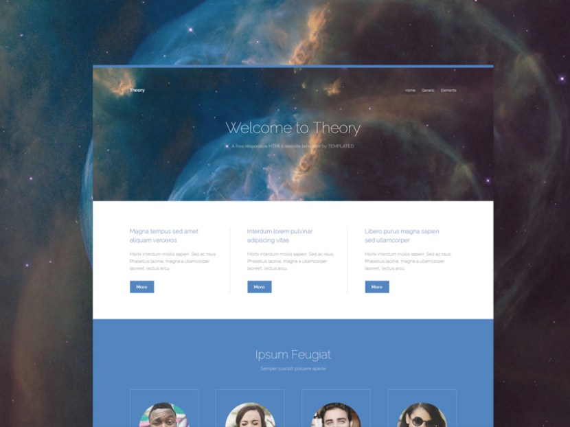 Theory – Minimal HTML Landing Page Template