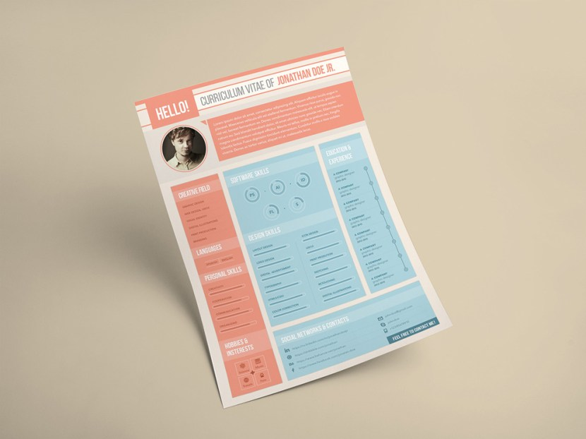 Free Flat Designer Resume Template