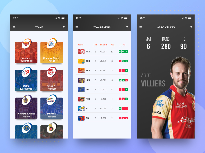Cricket App UI Template