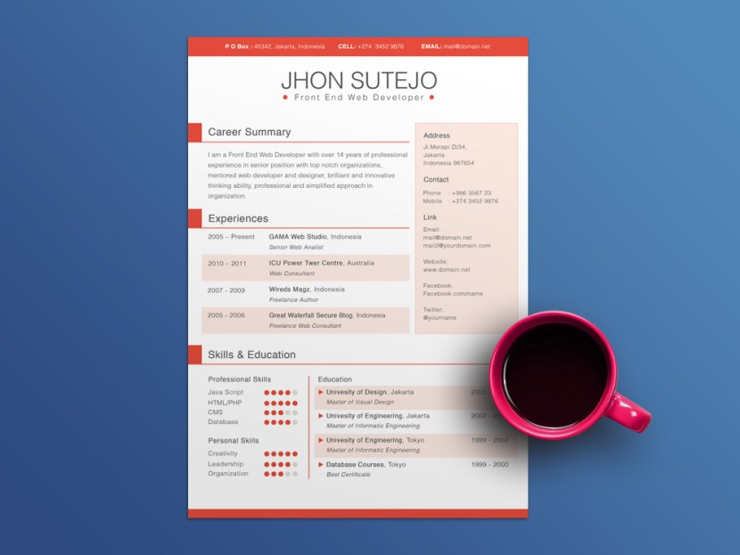 Free 5 Colors Resume Template