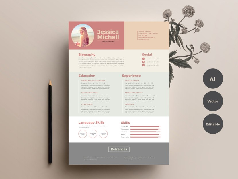 Free Elegant Colorful Resume Template