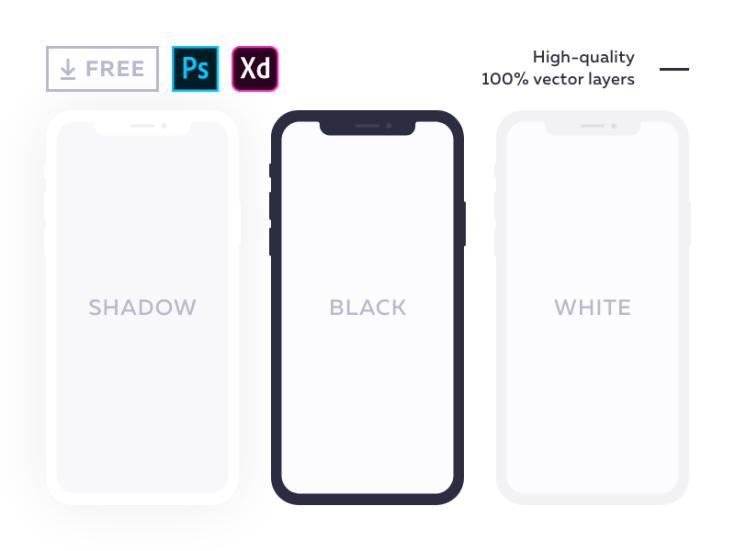 Free Flat iPhone X Mockup (PSD and XD)