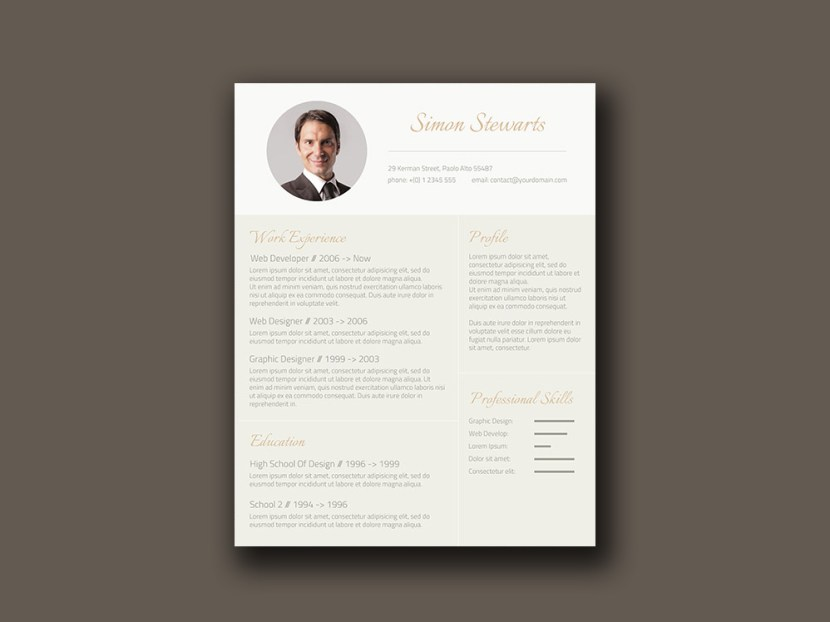 Free Gold Resume Template