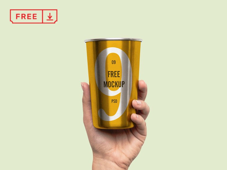 Free Hand Holding Metal Cup Mockup