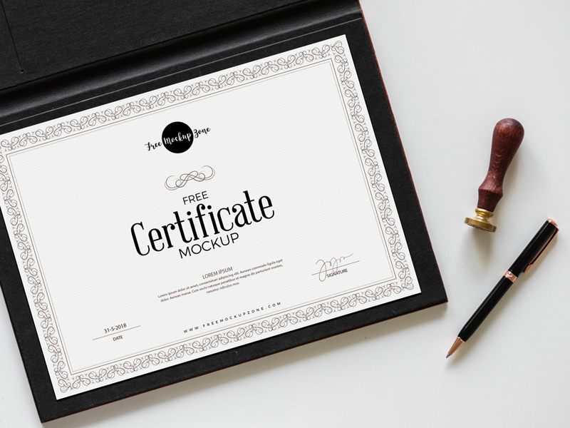 Free Realistic Certificate PSD Mockup
