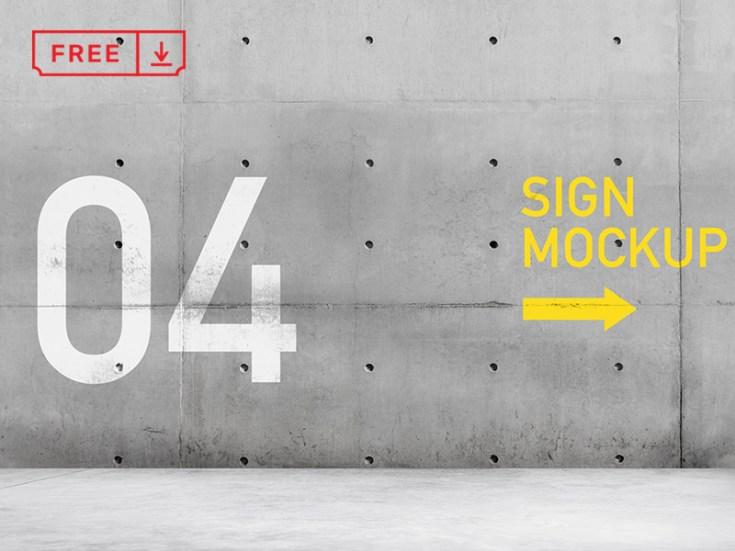 Free Wall Sign Mockup PSD