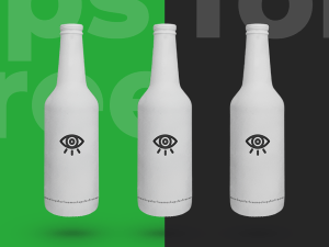 Free White Beer Bottle Mockup