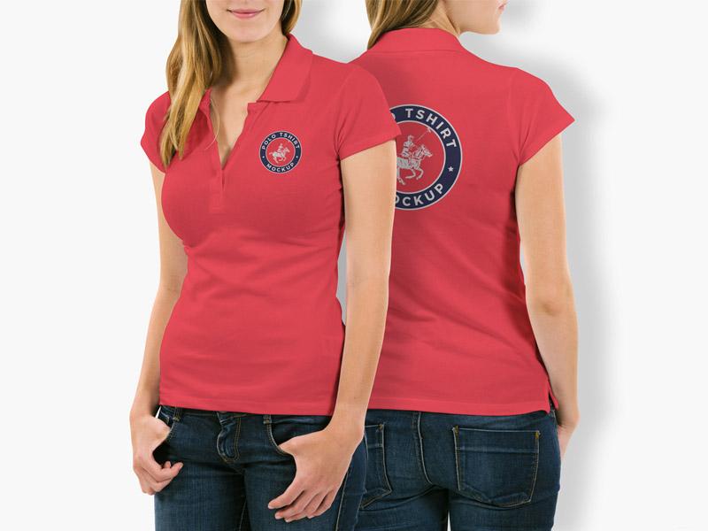 Free Woman Polo Shirt Mockup PSD