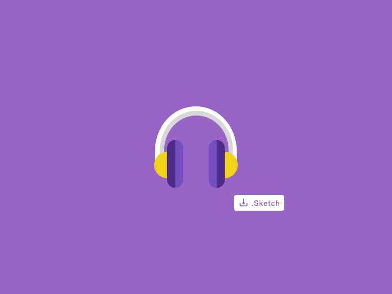 Headphones Sketch Vector Template