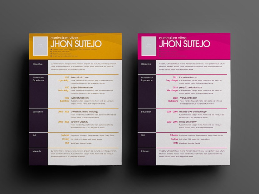 Free One Page Pattern Resume PSD Template