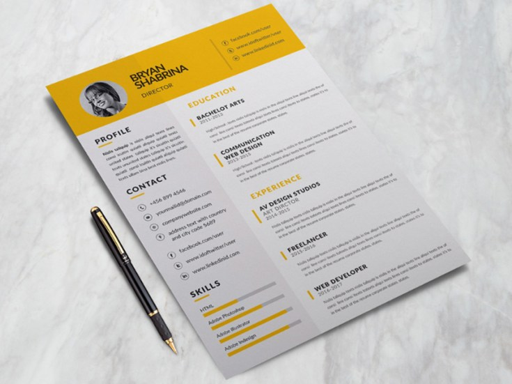 Free Clean Yellow Resume Template