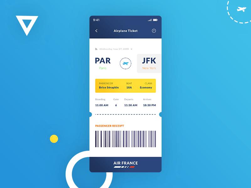 Free Airplane Ticket IOS App UI Template