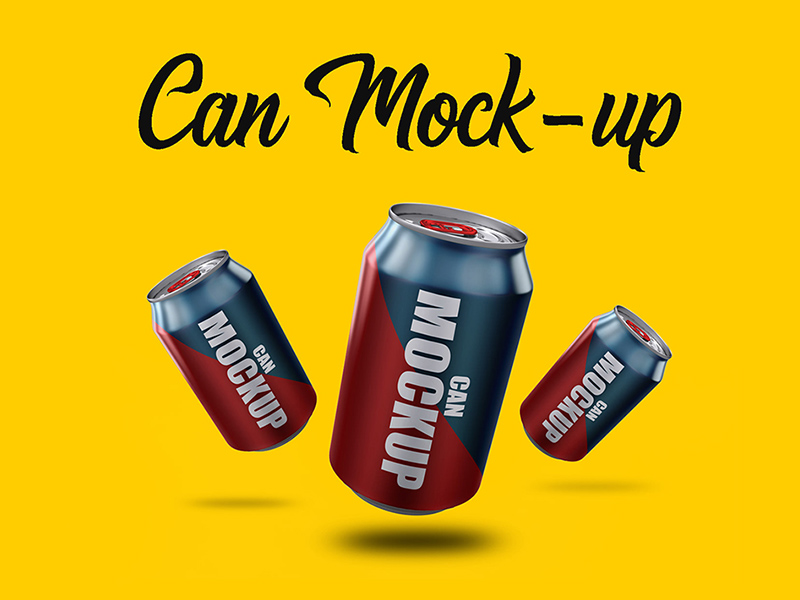 Free Can Mockup With Many Angles