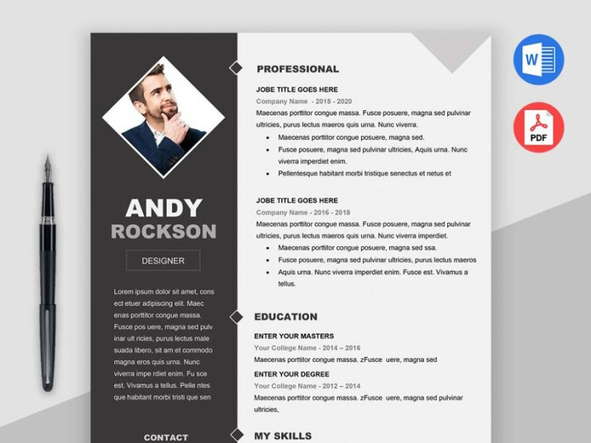 Free Modern Resume Template With Elegant Design