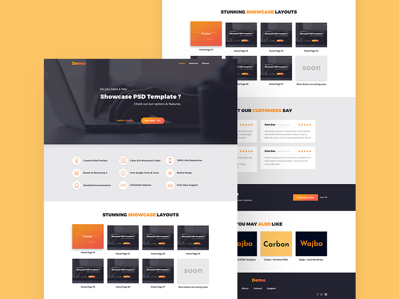 Showcase Landing Page PSD Template