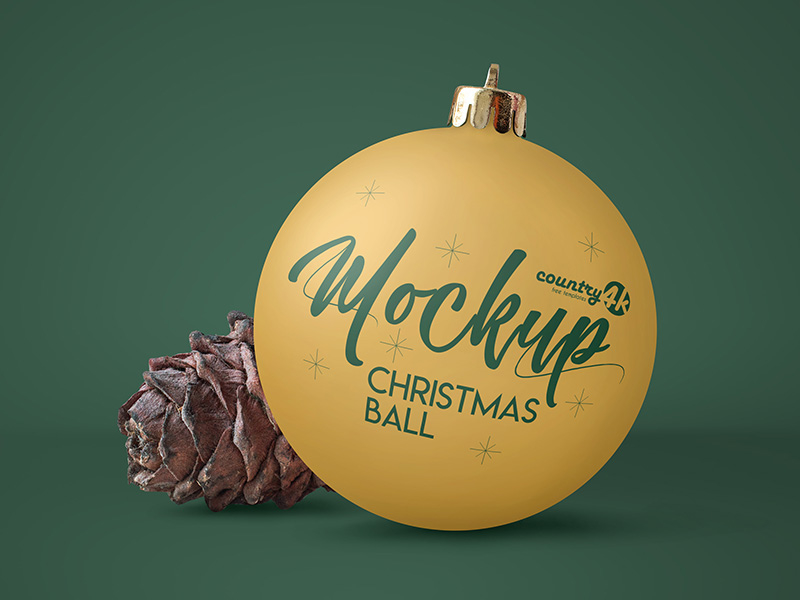 Free Christmas Ball PSD MockUp in 4k