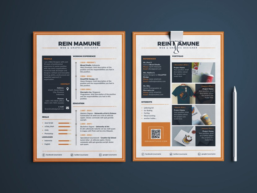 Free Creative Resume Template with Portfolio and Cover Letter