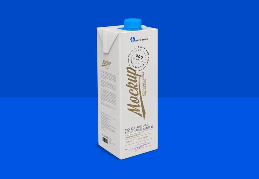Free Milk Tetra Brik Square 1L Mockup