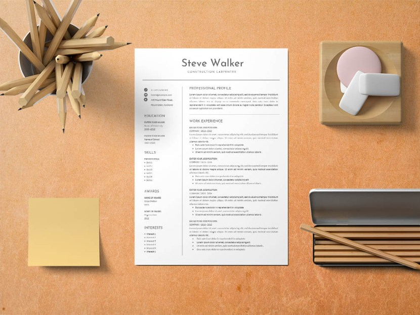 Free Construction Carpenter Resume Template
