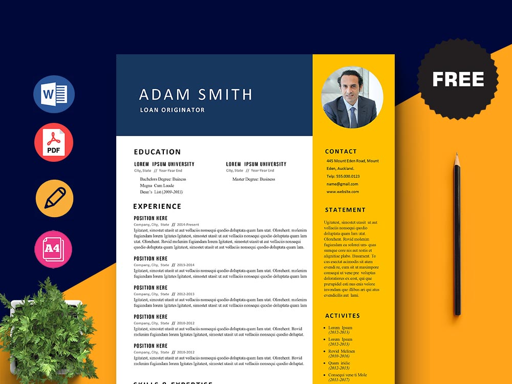 free loan originator cv  resume template