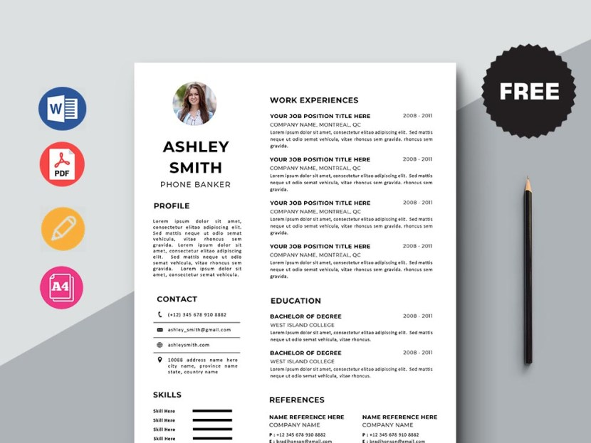 Free Phone Banker CV/Resume Template