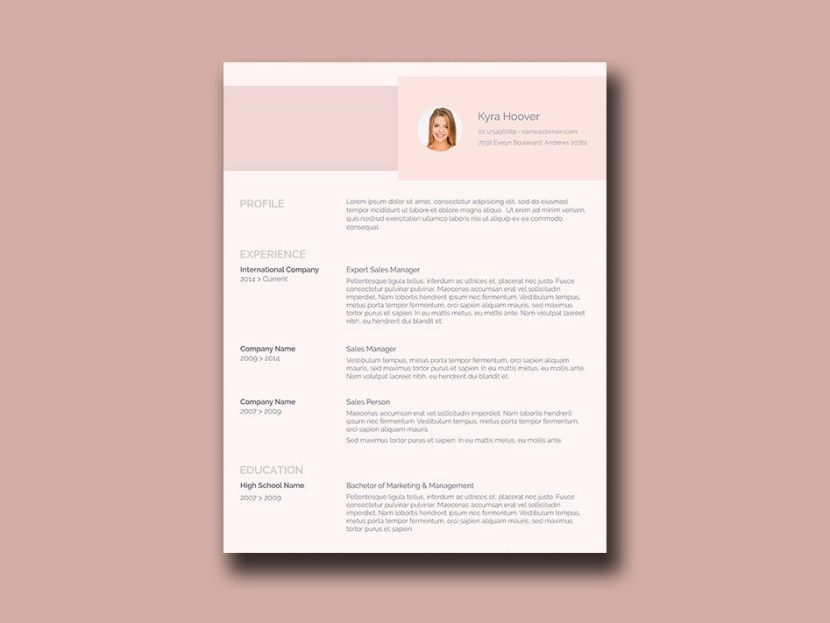 Free Pink Resume Template with Feminine Style