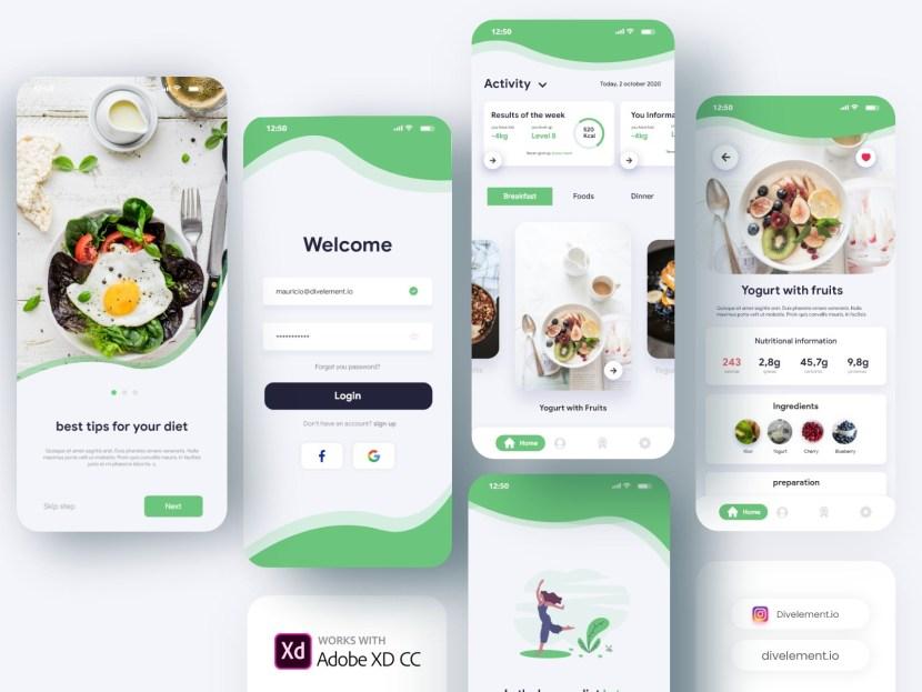 Free Diet App UI Template