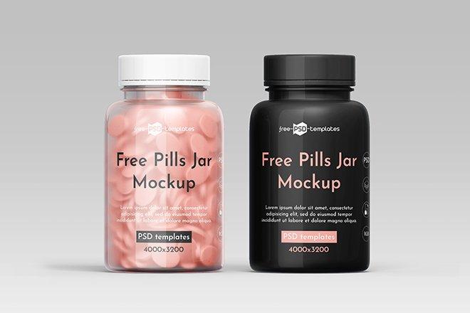 Free Pills Jar Mockup PSD