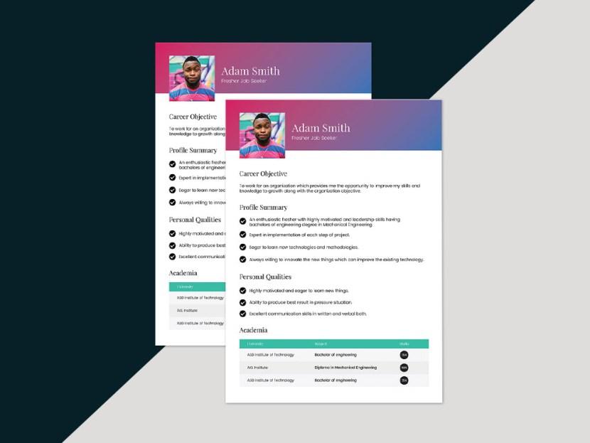 Free Fresh Vector Resume Template