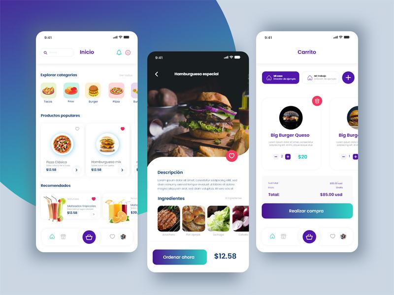 Free Food Delivery App Design in Adobe XD