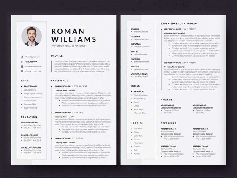 Free Three Pages Resume Template (ID, AI, PSD, DOCX)