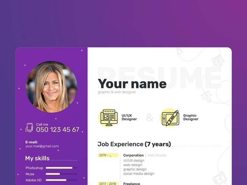 Free Unique PSD Resume Template