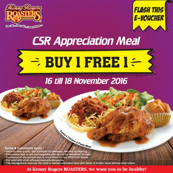 Kenny Rogers ROASTERS Buy 1 Free 1 Promotion