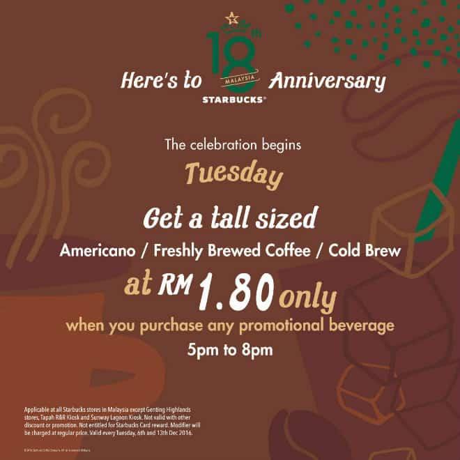 Starbucks RM1.80 Tuesday Promotion