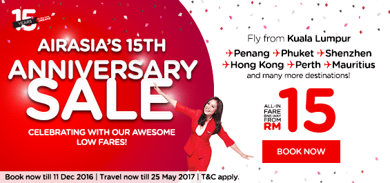 AirAsia RM15 Anniversary Promotion